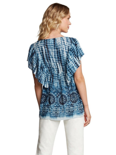 BL131620 Blue Acid Wash Button-Down Flowy Top with Ruffled Sleeves