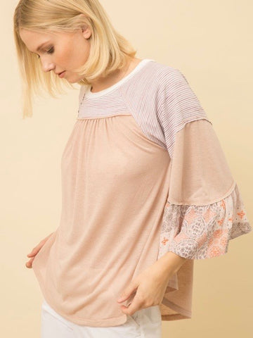 MY131554 Blush Print Combo Swing Top