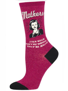 Women's Mothers Know Best Socks Wine Heather