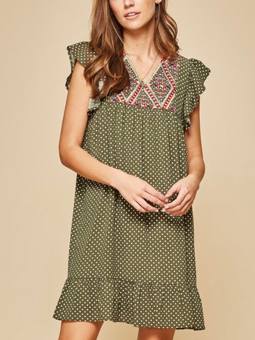 AN131531 Olive Polka Dot Shift Dress with Embroidered Detail