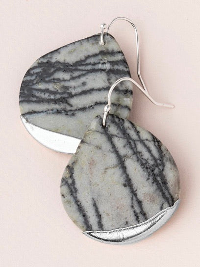 Stone Dipped Teardrop Earrings - Picasso Jasper/Silver