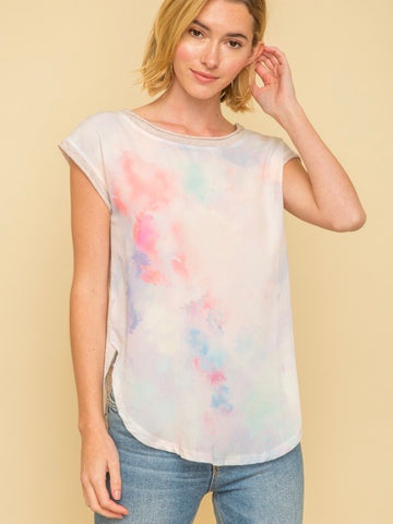 MY131676 Blush Water Paint Splash Dyed Boat Neck Top