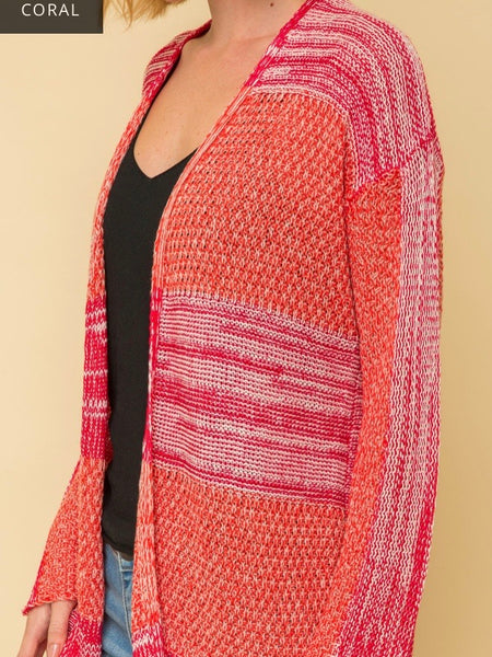 MY131392 Coral Open Front Stripe Texture Cardigan