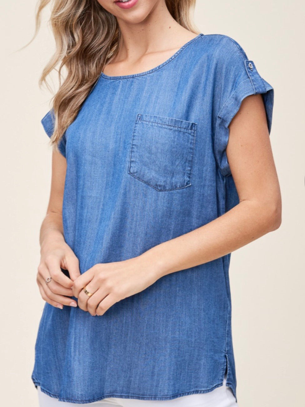 ST131600 Medium Wash Denim Round Neck Top
