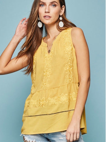 AN131527 Yellow Tonal Embroidered Top