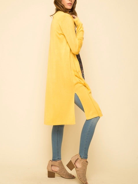 MY131386 Mustard Linen Blend Maxi Sweater Cardigan