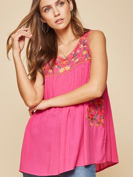 AN131520 Hot Pink Embroidered Tunic Top