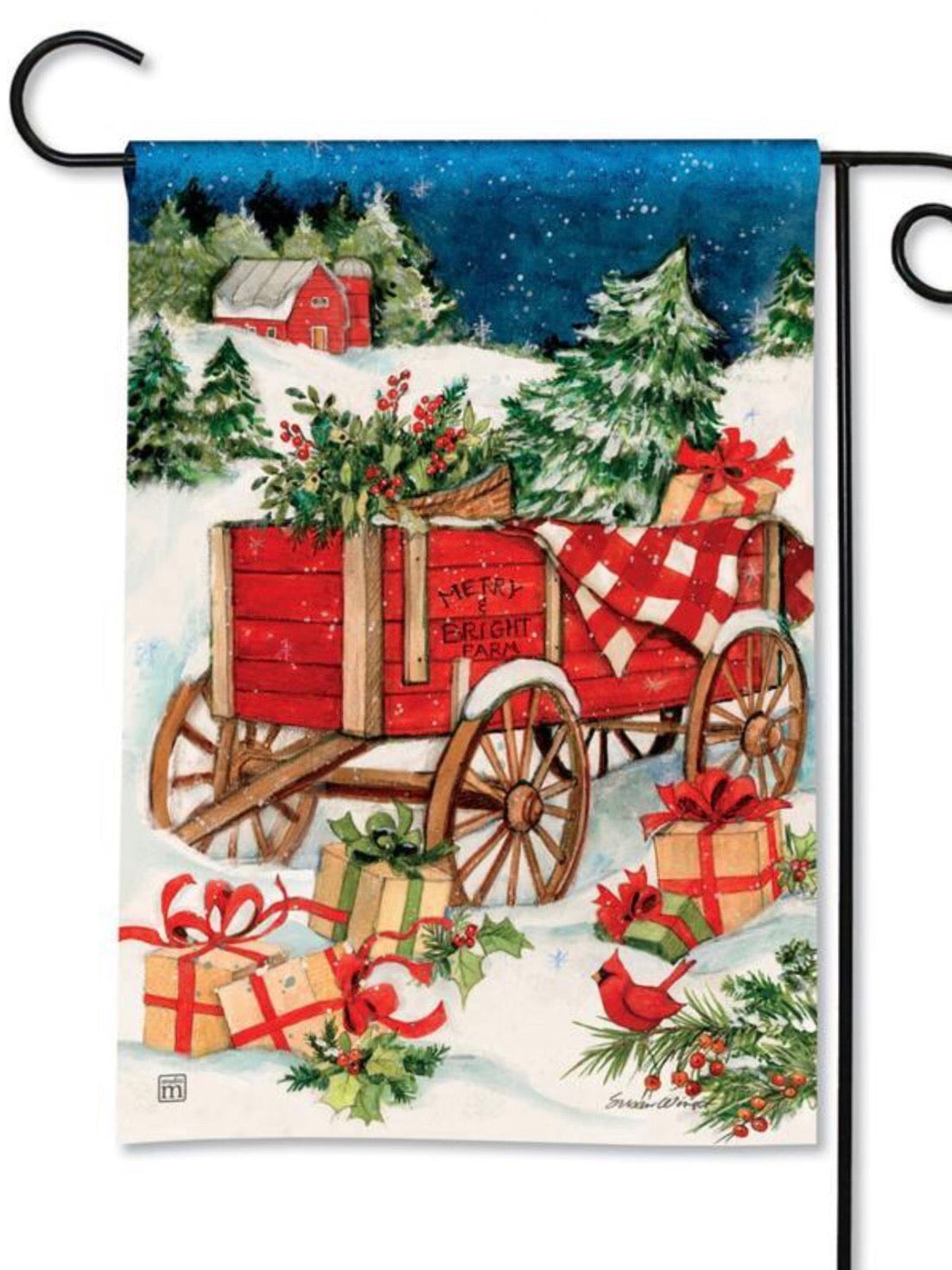 Christmas Farm Wagon Garden Flag (Flag Stand Sold Separately)