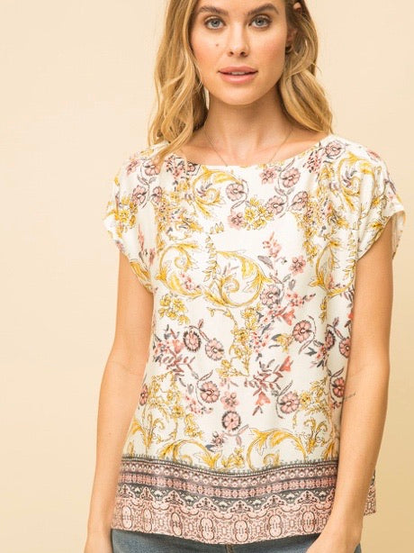 MY131675 Cream/Gold Boat Neck Boxy Border Print Top