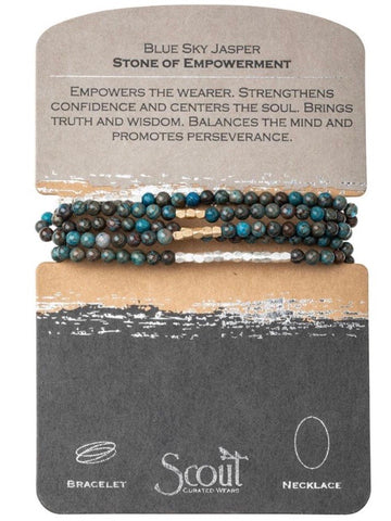 Blue Sky Jasper - Stone of Empowerment Wrap Bracelet / Necklace