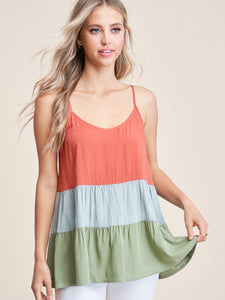 ST131606 Salmon/Olive Color Block Tiered Top