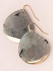 Stone Dipped Teardrop Earrings - Labradorite/Gold