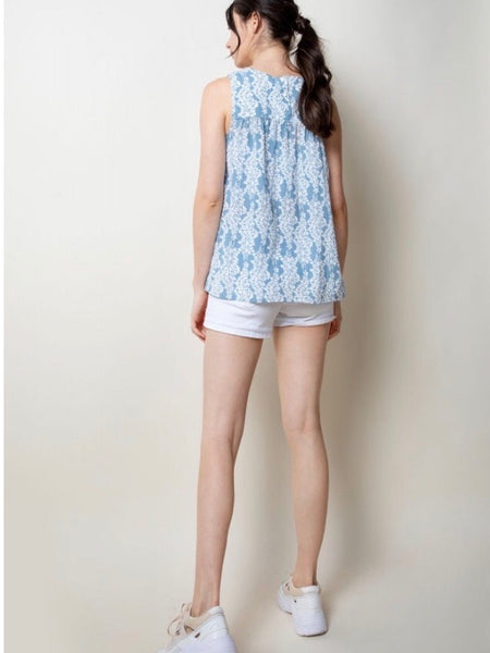 TM131581 Blue Embroidered Tank Top
