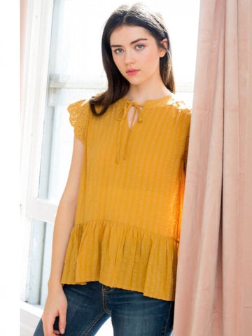 TM131342 Mustard Flutter Short Sleeve Top