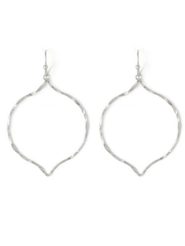 "SI189182 Delicate Hammered Moroccan Drop 1-1/2"" Silver Earrings"