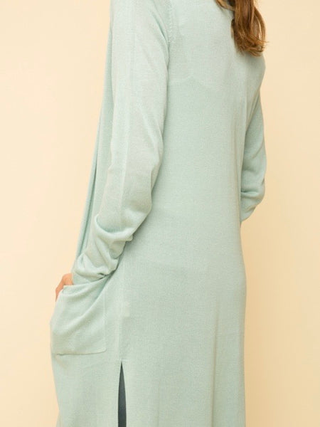 MY131388 Mint Cardigan Linen Blend Maxi Sweater Cardigan