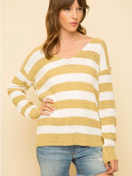 MY131393 Mustard Knotted Back Stripe Pullover Sweater