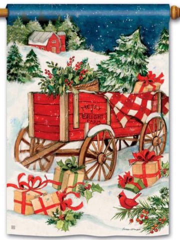Christmas Farm Wagon Standard Flag (Flag Pole Sold Separately)