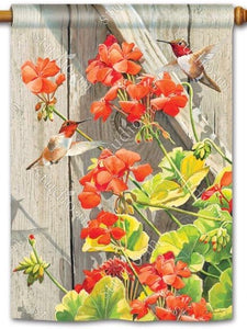 Hummingbirds With Geraniums Standard Flag (Flag Pole Sold Separately)
