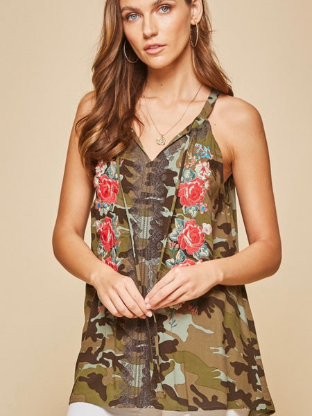 AN14486P-C Camo Embroidered Top