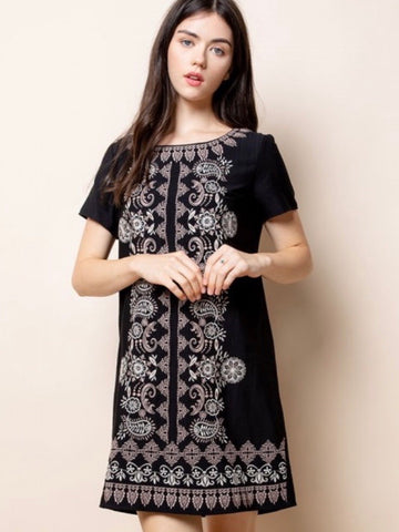 TM131344 Black Embroidered Short Sleeve Dress