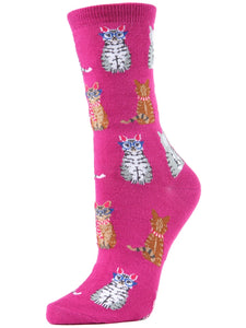 Women's Studious Cats Bamboo Blend Crew Socks Fuchsia