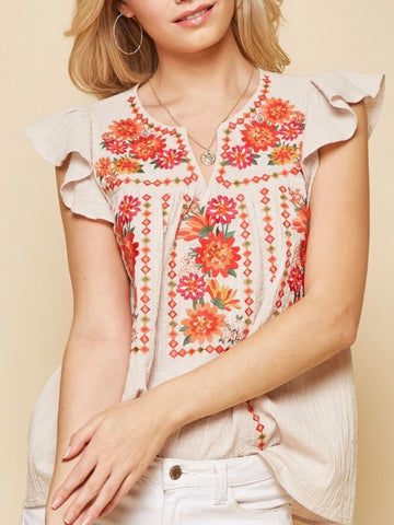 AN131529 Taupe Embroidered Top