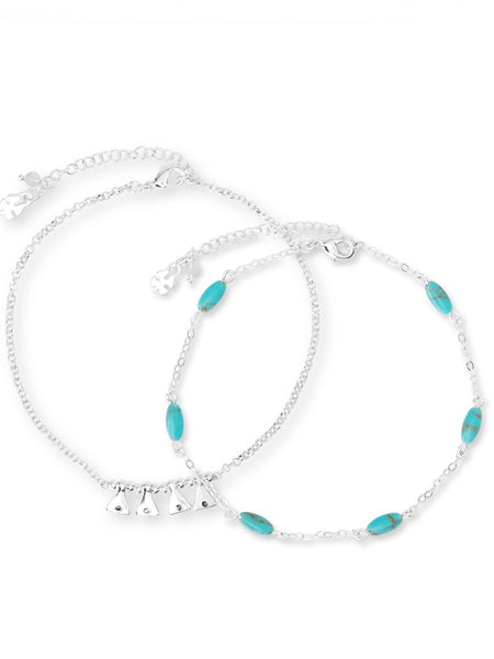 JWEL4341 040 Turquoise Charm Anklet