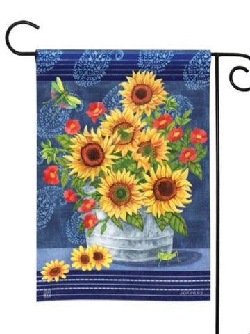 31440 Denim Sunflowers Garden Flag (Flag Stand Sold Separately)