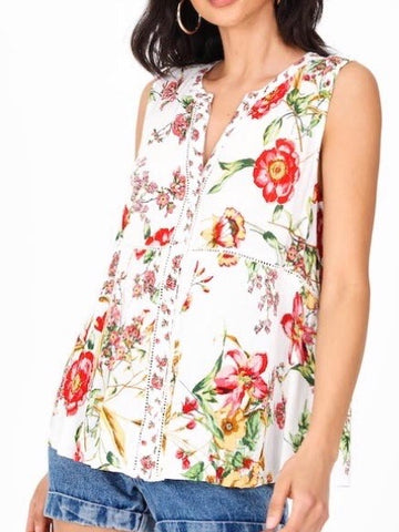 BL131621 Cream Collared Button Down Sleeveless Top