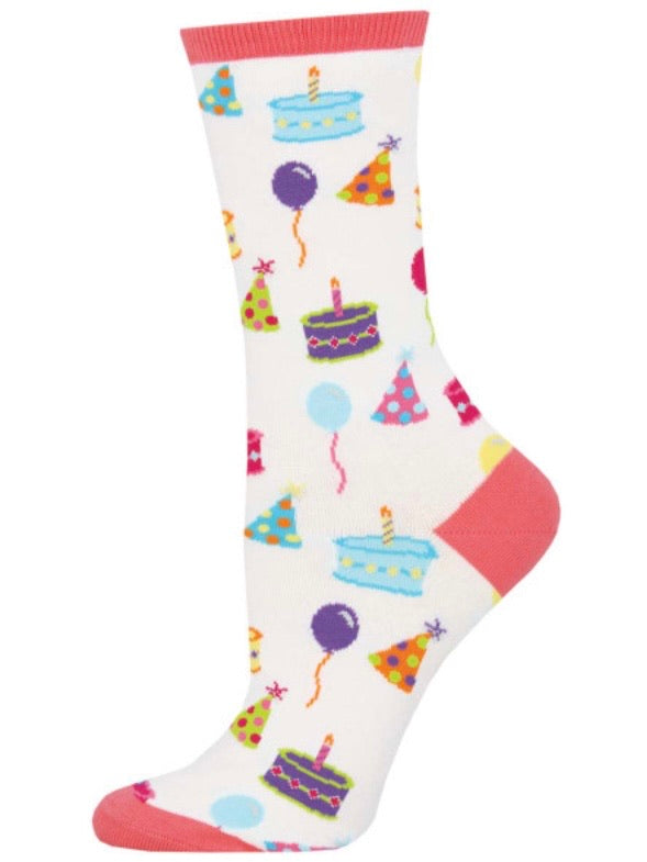 Women's Happy Birthday To You Socks White