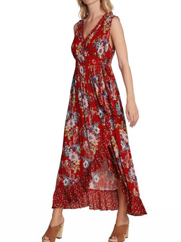 BL131618 Red Floral Print Maxi Dress
