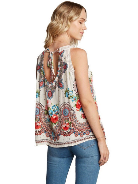 BL131616 Cream Paisley Floral Print Halter with V-Neck Lace Detail Top