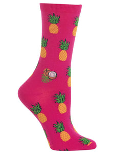 Women's Pineapple Crew Socks Bright Pink