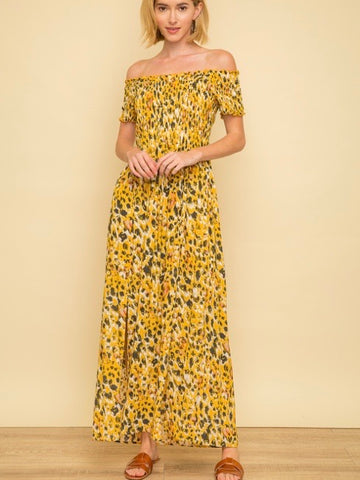 MY131681 Mustard Printed Smocked Maxi Dress