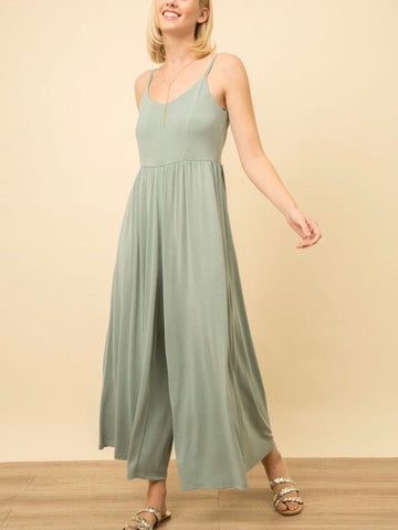 MY131454 Sage Sand Wash Modal Wide Legs Jumpsuit