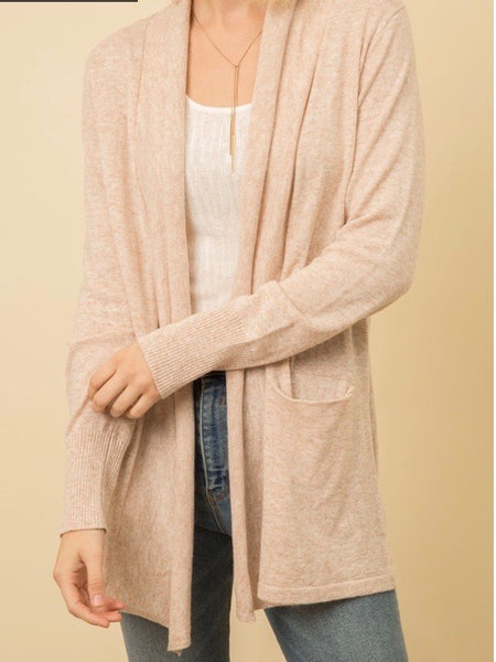 MY131383 Blush Two-Tone Open Sweater Cardigan