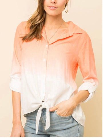 MY131429 Coral/Off-white Dip Dyed Button Down Top