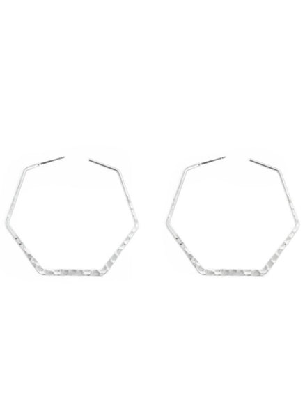 "SI191499 Hammered Hexagon Hoop 2"" Silver Earrings"