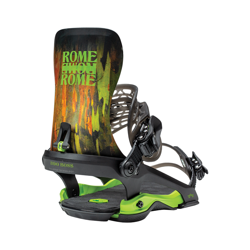 Rome 390 Boss snowboard bindings 2020 2021 by rome snowboards camo back