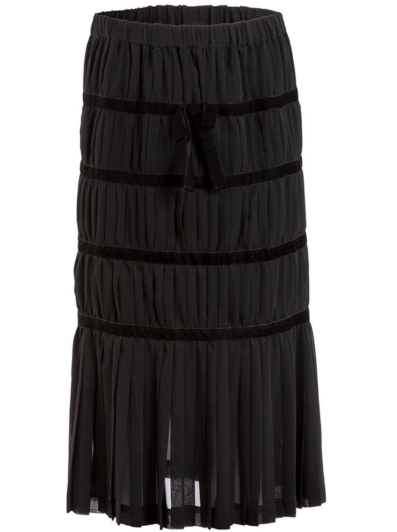 Comme des Garçons Silk and Velvet Pleated Midi Skirt - case-study