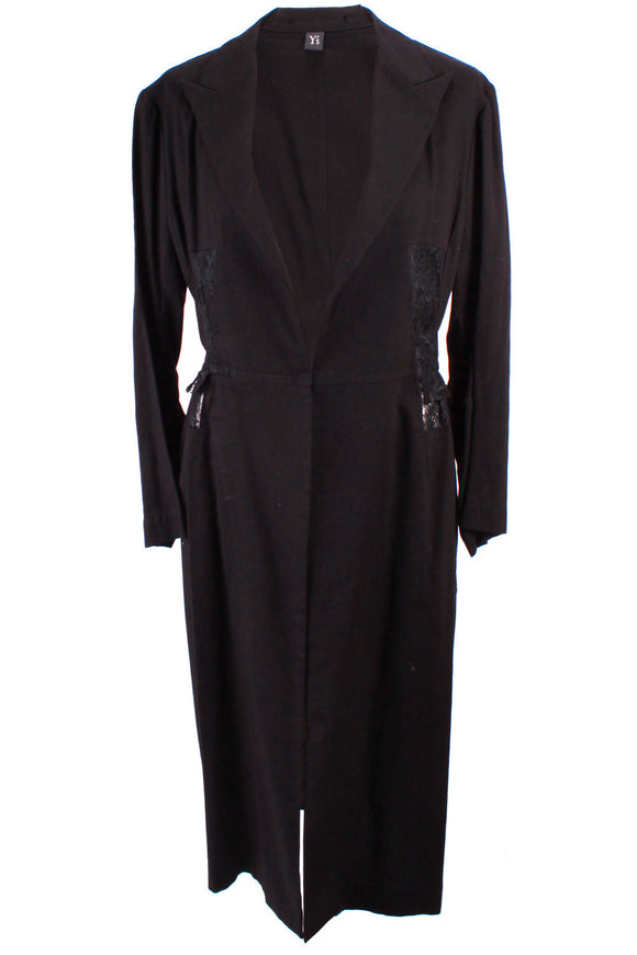 Yohji Yamamoto Long Jacket with Lace Detailing in Black - case-study