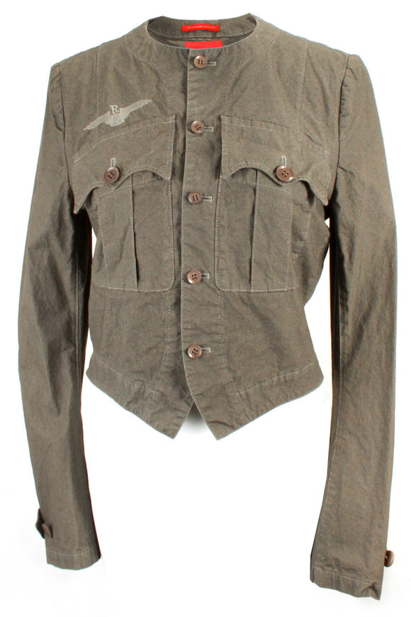 Yohji Yamamoto Military Style Jacket with Front Chest Pockets in Army Green - case-study