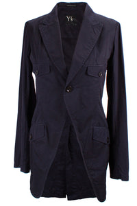 Yohji Yamamoto Long Jacket in Navy Blue - case-study