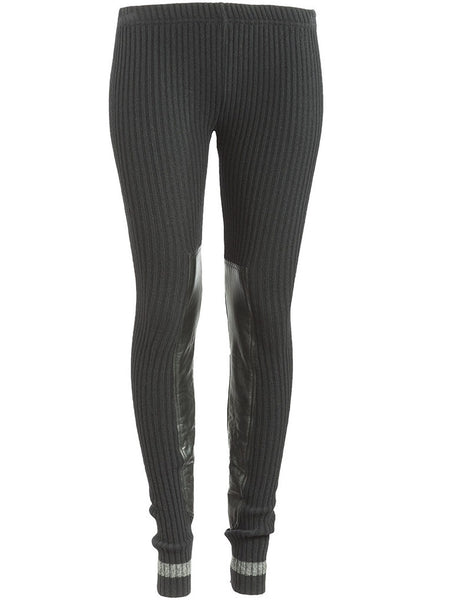 900203d72f1770 Undercover Ribbed Leather Panel Leggings