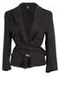 Yohji Yamamoto Blazer Jacket with Lace Detailing and Tie Front in Black - case-study