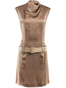 Paco Rabanne Draped Neck Belted Dress - case-study