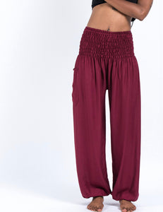 Solid Colour Harem Pants in Wine Red