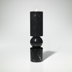 Fulcrum Candlestick Black Marble