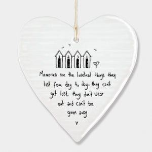 East of India hanging porcelain heart - memories are the loveliest thing